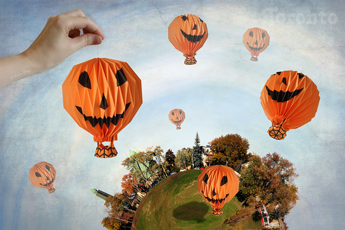 Byzantine Side of Toronto Planet. October's Origami Pumpkin Raid by Katrin Ray