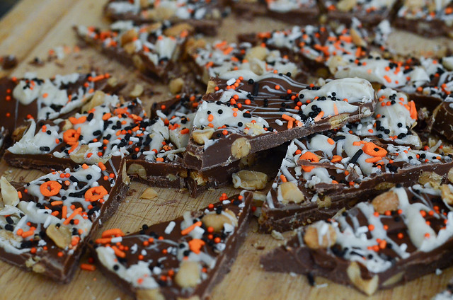 Pumpkin Spice Chocolate Bark on a cutting board.