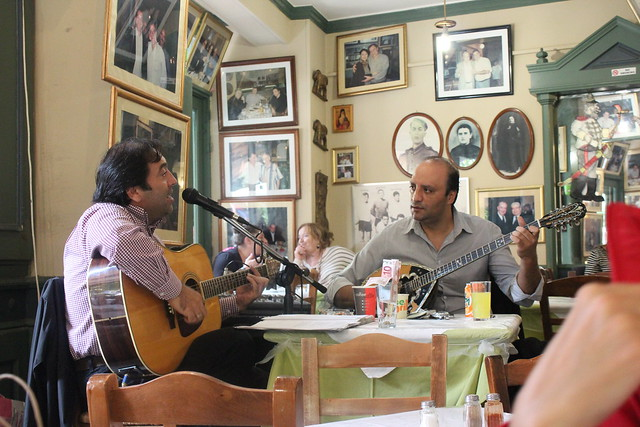 live performance in a greek tavern, Athens