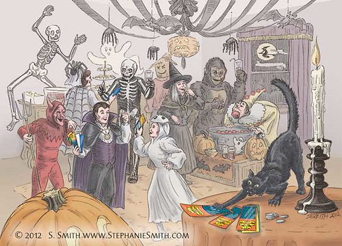 Illustration for lottery scratch-off Halloween promotion