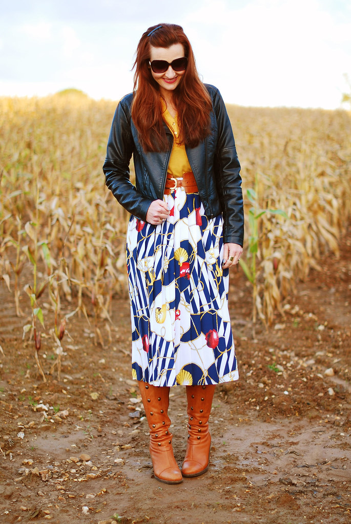 Vintage Skirt & The Perfect Leather Jacket