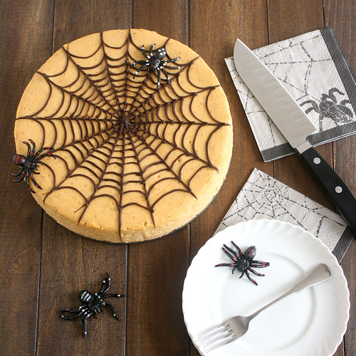 Spiced Pumpkin Spiderweb Cheesecake