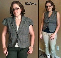 Plaid Vest Before & After