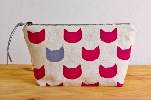 fuchsia cats grey pouch