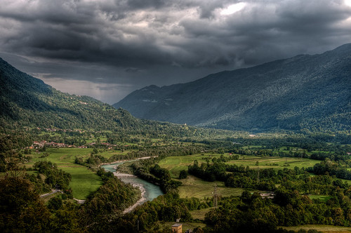 trees summer storm mountains green clouds river landscape scenery stream wideangle hills slovenija hdr panoramicview soča kobarid posočje nikond5000