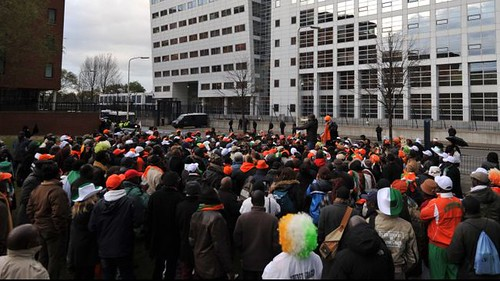 Deposed Ivory Coast President Laurent Gbagbo has been kidnapped and illegal transported to the Netherlands for trial before a bogus and fradulent so-called international court. His supporters demonstrated on October 30, 2012. by Pan-African News Wire File Photos