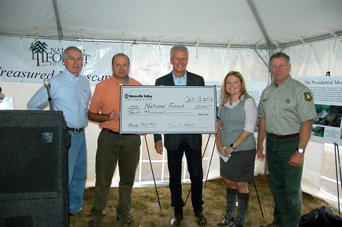 Funding presented to kick off the campaign on the White Mountain National Forest by Bob Fries Waterville Valley Foundation and President of the Waterville Valley Ski Area; Mike Furgal, Treasurer Waterville Valley Foundation; Bill Possiel, President of National Forest Foundaton; Lori Harnois Director of New Hampshire Division of Travel and Tourism; Tom Wagner White Mountain National Forest Supervisor. PHOTO CREDIT:  Edith Tucker, reporter, Coos County Democrat. Used with permission