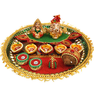 Diwali pooja thali decoration ideas flickr photo sharing for Aarti thali decoration ideas