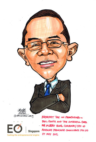 Mr Albert Kong caricature for EO Singapore