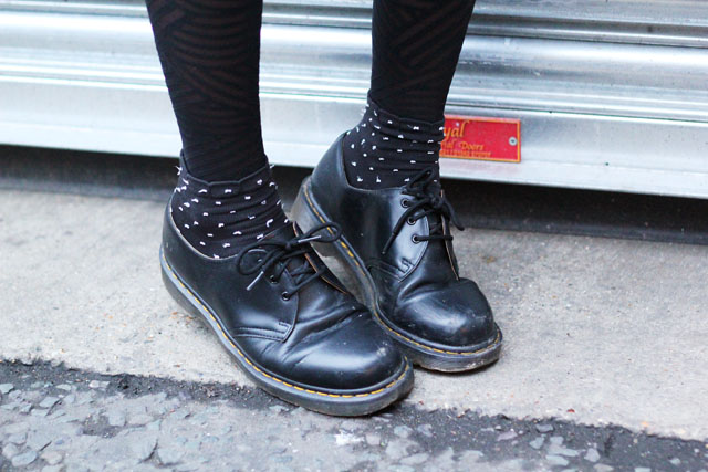 Dr Martens with polka dot socks and Wolford tights