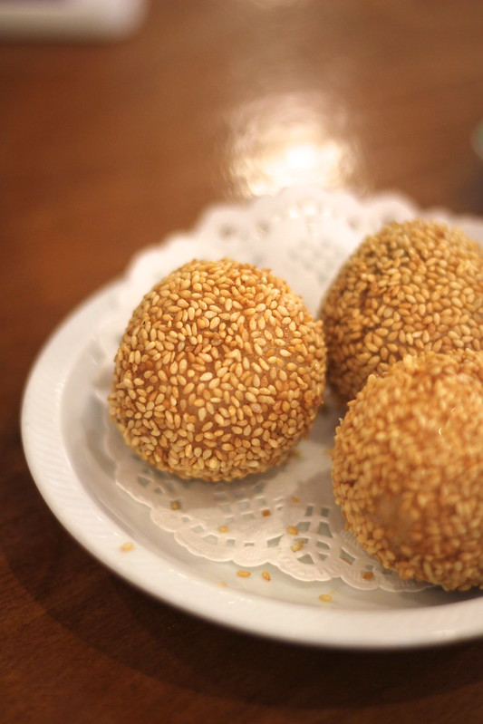 Sweet sesame red bean paste balls