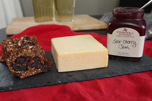 Rainforest Crisps, 1833 English Vintage Cheddar, and Stonewall Kitchen Sour Cherry Jam
