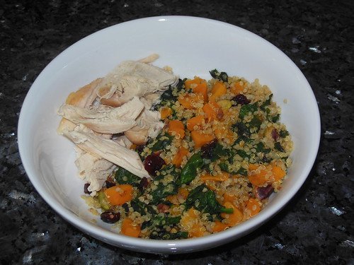 Quinoa, butternut squash, spinach, and chicken
