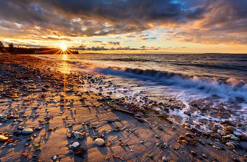 sunset beach water clouds washington sand rocks waves shadows pebbles gulfislands sanjuanislands hdr birchbay