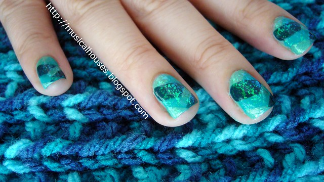 teal fishtail braid manicure 1
