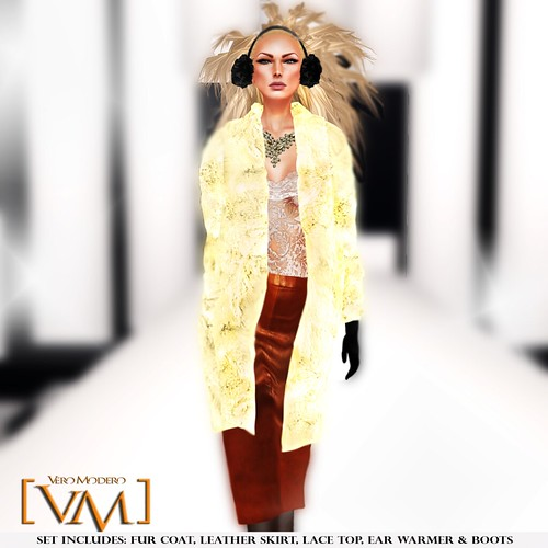 [VM] VERO MODERO _ Beren Fur Coat Set Cream