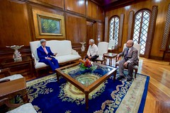 U.S. Secretary of State John Kerry sits with Philippines Foreign Secretary Perfecto Yasay and Assistant Secretary of State for East Asian and Pacific Affairs Daniel Russel in the Malacañang Palace in Manila, Philippines, on July 27, 2016, before the Secretary held a working lunch with Philippines President Rodrigo Duterte. [State Department Photo/Public Domain]