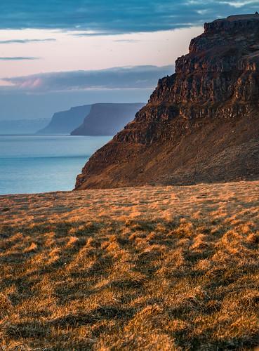 látravík iceland ísland fjord sunset