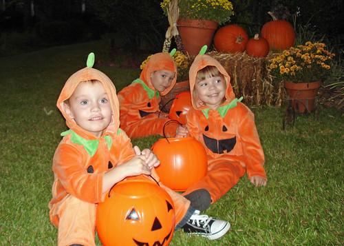 3 dressed pumpkins