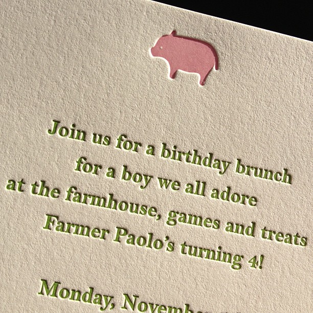 Cute 2-color #letterpress invitations for a farm-themed #birthdayparty