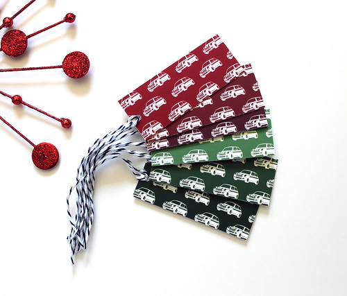 MINI Cooper holiday gift tags red and green