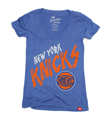 Blue New York Knicks Ladies Abyss Shirt By Sportiqe
