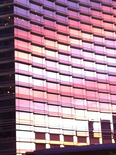 pink sunset building glass colors tall arhitect