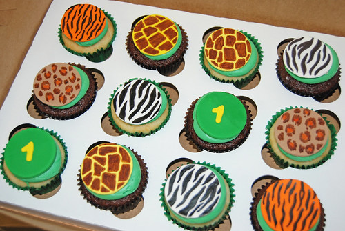 Animal print cupcakes - zebra, tiger, giraffe and cheetah