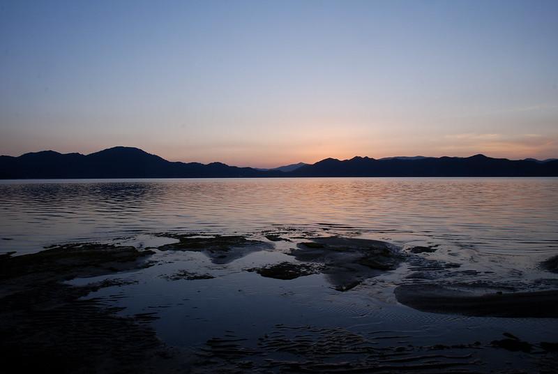 Lake Tazawa after sunset