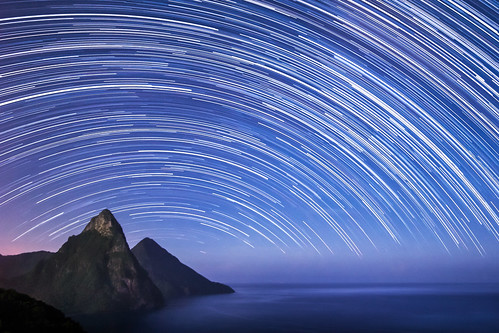 blue sea mountains hot landscape rainforest sticky jungle tropical moonlight caribbean cosmic tropics stlucia humid startrails pitons lookingsouth soufriere saintlucia photostack petitpiton grospiton flickrchallengegroup flickrchallengewinner