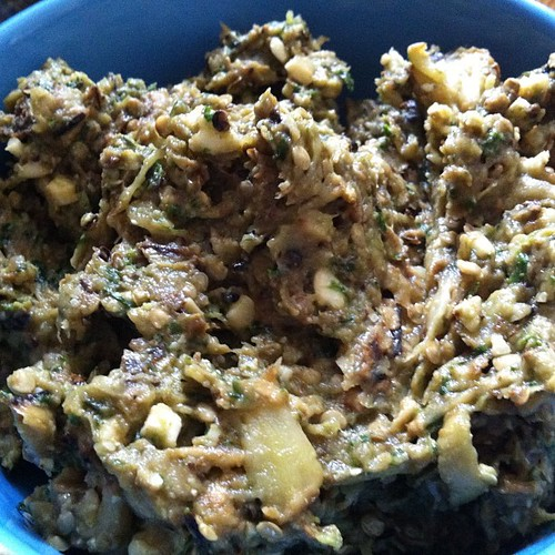 Roasted eggplant and cashew dip
