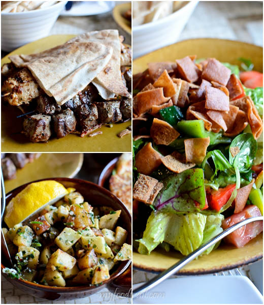 Byblos Bar & Restaurant - Meat skewers, fattoush salad, potatoes