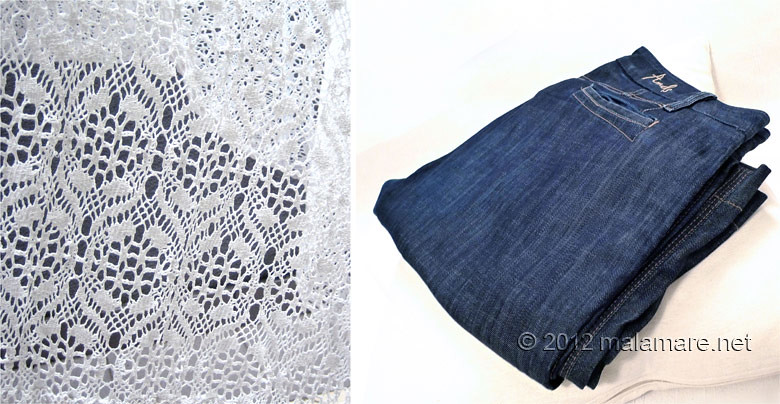 Jeans clutch bag with handmade lace materials