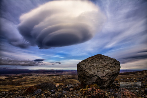 UFO Shaped Lenticular Cloud and Volcanic Projectile, Rangipo Desert, Mount Ruapehu, New Zealand