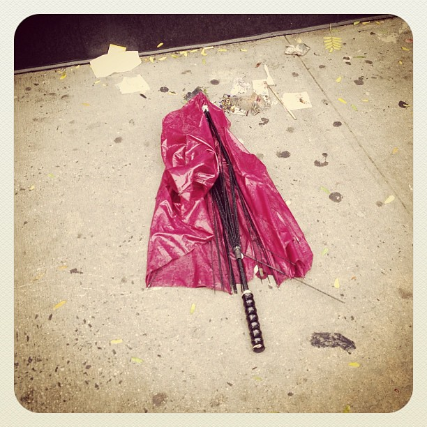 Sandy: umbrella casualty on St Marks Place in NYC