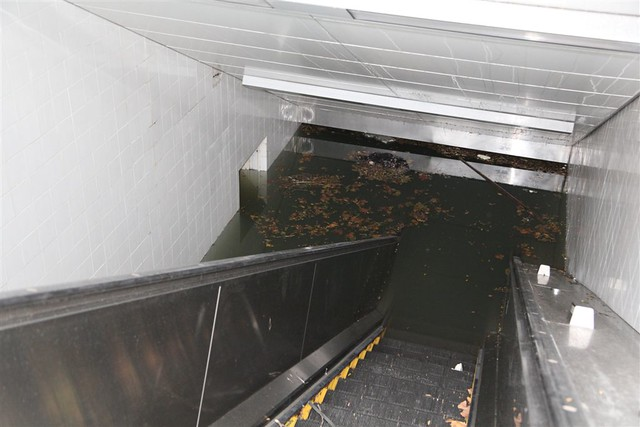 South Ferry Subway Station Entrance under Water
