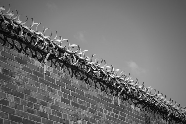 Barbed wall and shadows
