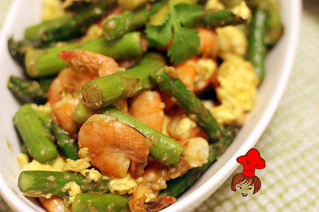 綠蘆筍炒蝦仁 Stir Fry Asparagus with Shrimp 7