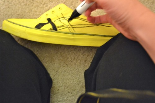 Step 3: draw Asics stripes on sneakers