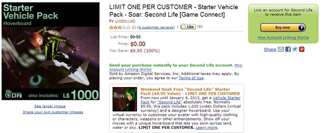 Second Life Amazon.com Promotion