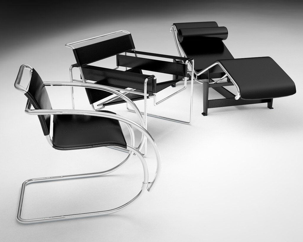 Marcel breuer chair, wassily armchair, le corbusier chaise lounge | Render 3D Arezzo