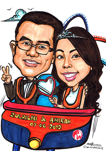 Wedding couple caricatures at RWS roller coaster
