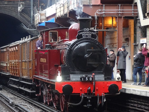 09:55 Kensington Olympia to Moorgate (steam hauled - staff trip): Metropolitan Locomotive No. 1 draws into Barbican platform 1