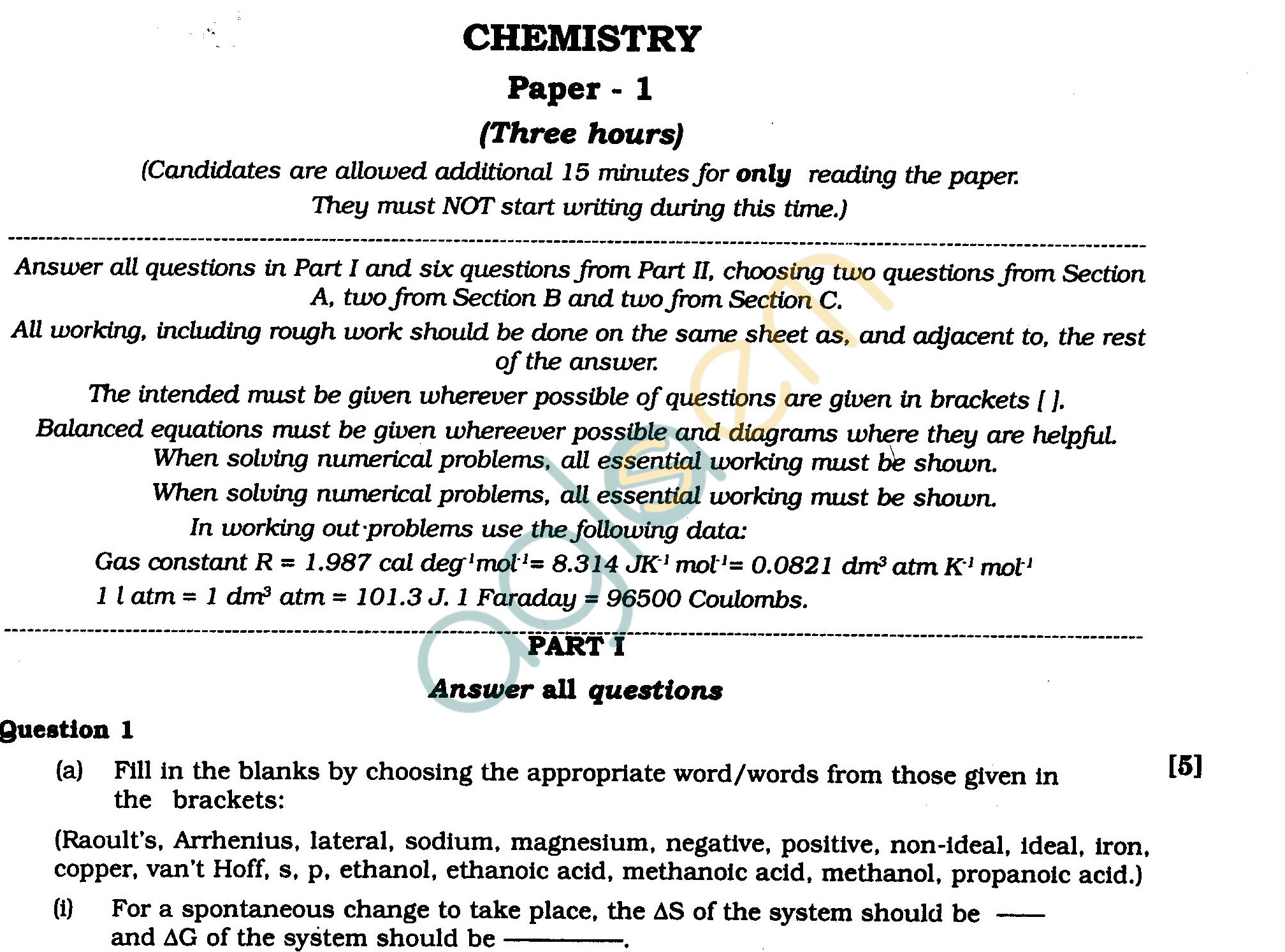 ISC Class XII Exam Question Papers 2012 Chemistry