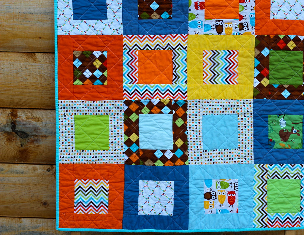 Owls Rainbow Remix Baby Quilt