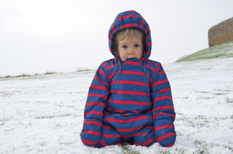 Photographing children in the snow