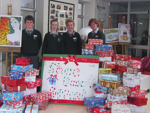 Student Council members with Shoe Boxes for Team Hope