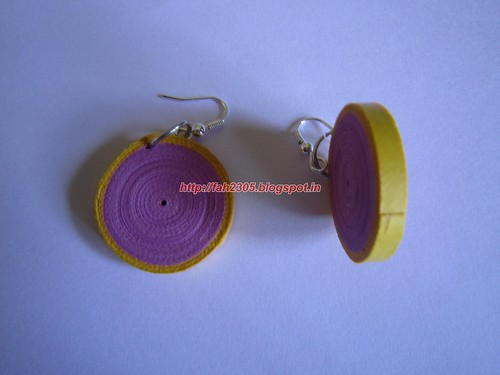 Handmade Jewelry - Paper Disk Earrings (Pink & Yellow)  (2) by fah2305