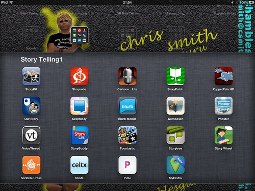 Digital Storytelling Apps on Shamblesguru's iPad (folder 1)
