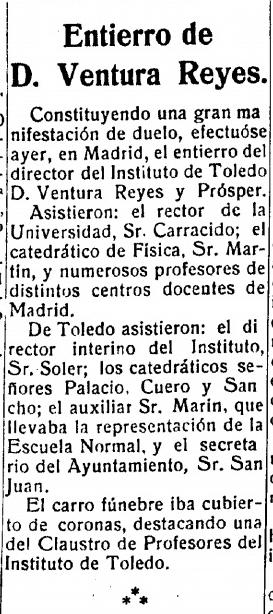 Noticia de la muerte de Ventura Reyes. El Castellano, 29 de noviembre de 1922